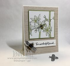 Inside the Lines DSP and Bumblebee from Dragonfly Thinlits dies card :: Jenny Hall