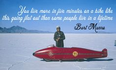 Burt Munro with the 1920 Munro Special Worlds Fastest Indian