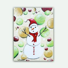 Christmas Original Painting on Canvas  Snowman by hjmArtGallery. , via Etsy.