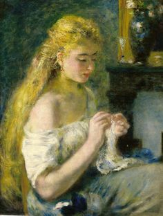 Renoir muchacha haciendo ganchillo
