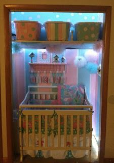 Closet nursery. Small spaces. Small nursery. 100.00 budget. Baby girl nursery. The finished dream.