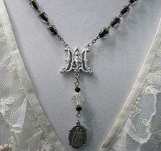 Assemblage Necklace Vintage Black Encased by StRageJewelryCo