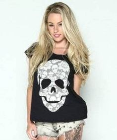 """New Loungefly Juniors """"Vintage Lace Skull"""" Black Oversized Doman Tee: Sizes S-L #Loungefly #GraphicDolmanOversizedTee"""