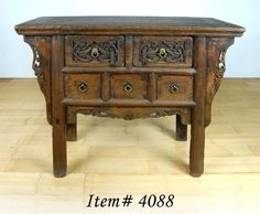 """This beautiful Northern Elm Wood or """"Yumu"""" features hand-carved Dragon embellishments and is over 100 years old!"""