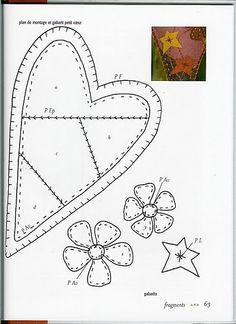 heart for patchwork Felt Embroidery, Felt Applique, Applique Quilts, Embroidery Stitches, Crazy Quilting, Crazy Patchwork, Patchwork Heart, Applique Templates, Applique Patterns