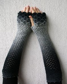 Extra long Arm warmers Fingerless Gloves Crocheted by mareshop, $52.00 (OMG THEY LOOK LIKE MERMAID TAILS)