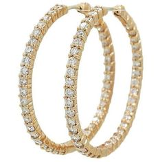 Preowned Roberto Coin 3.45 Carat Diamond Hoop Rose Gold Earrings ($6,900) ❤ liked on Polyvore featuring jewelry, earrings, hoop earrings, red, 18 karat gold earrings, 18k earrings, diamond jewelry, red jewellery and diamond jewellery