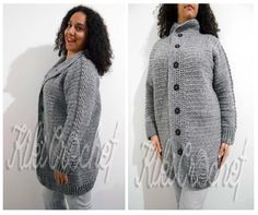 This is the warmest cardigan I've ever made for myself, and I know you can tell how happy and proud I am for this result! It's been worked from the top to the bottom in one piece with half double crochet, which gives a great raglan result on the sleeves! I also made a cable stitch on the sleeves! Follow the link to see how to create in all sizes!! Don't forget to post a pic of your finished project here! :)