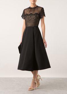 Self-Portrait Dresses :: Self-Portrait guipure lace and crepe dress | Montaigne Market