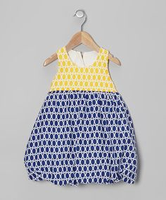 Take a look at this Navy & Yellow Circle Bubble Dress - Infant & Toddler by Bellinni by Bebe Bella Designs on #zulily today!