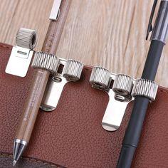 3 x Silver Self Adhesive Double Pen Holder Pocket Pen Clip