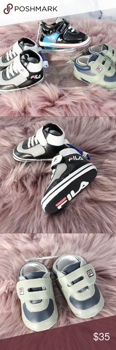 Fila Retro Sneakers Streetwear infants 6-12 months 3 pair of retro Fila high tops for babies! Size is 3-6 months. Soft. •CONDITION: NWT •FLAWS: No pilling, stains, or rips.  • If you like it, feel free to make me a reasonable offer -OR- bundle your likes for me and I'll send you an offer with an exclusive discount! New items added regularly, so check back in often for Streetwear, vintage, hype gear, athlesiure, and designer threads! Fila Shoes Sneakers