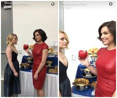 Lana trying to offer Emilie an apple on the Once Upon A Time Snapchat.