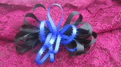 Hair Bow Black and Blue Barrette Bow by handmadeclosetloft on Etsy