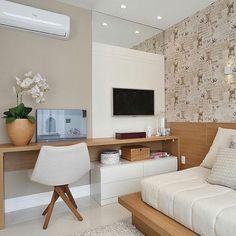 """Arquitetura, Decor & Design (@decoreseuespaco) no Instagram: """"Integração de um quarto na qual possui bastante madeira trazendo aconchego ao ambiente. {Projeto:…"""""""