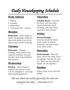 Organization Ideas housekeeping Housekeeping Schedule: chores for each day of the week and daily tasks that are . Housekeeping Schedule: chores for each day of the week and daily tasks that are simple and straight forward! Weekly House Cleaning, House Cleaning Checklist, Household Cleaning Tips, Diy Cleaning Products, Cleaning Hacks, Cleaning Schedules, Daily Schedules, Cleaning Routines, Deep Cleaning