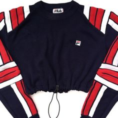 Vintage Reworked Fila Crop Sweater (315 DKK) ❤ liked on Polyvore featuring tops, sweaters, vintage sweater, blue top, fila, crop top and blue crop top
