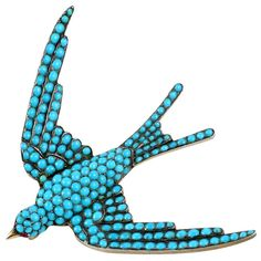 French Victorian Turquoise Pave Swallow Brooch | 1stdibs.com