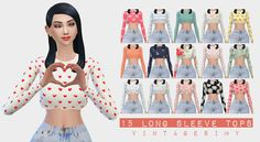 TS415 Long Sleeve Tops ♥Just some tops made by… – Vintage Sims CC Shop♦⁴ | Sims 4 Updates -♦- Sims Finds & Sims Must Haves -♦- Free Sims Downloads