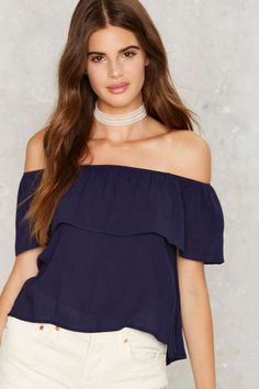 Montage Off-the-Shoulder Top - Navy - Off The Shoulder