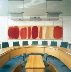 The wall piece entitled 'Dialogue' by British textile designer Kate Blee takes centre stage in the main conference room of Portcullis House in London.
