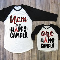 Mommy and me birthday shirts one happy camper camping birthday party camping theme birthday party one year old birthday by JADEandPAIIGE on E 1 Year Old Birthday Party, Birthday Themes For Boys, Boy First Birthday, Boy Birthday Parties, Birthday Shirts, Birthday Ideas, Birthday Stuff, Birthday Crafts, Camping Style
