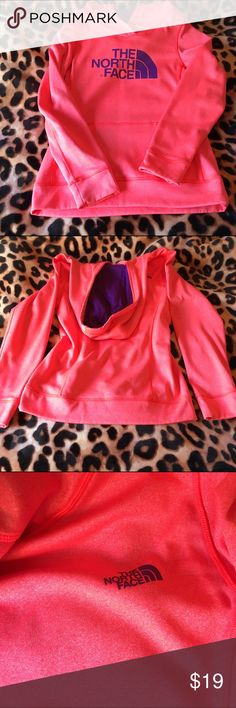 ⭐️12 HOUR SALE⭐️Neon Orange North Face Sweatshirt! very bright & cute North Face sweatshirt! only worn a couple if times- has a tiny stain on the top, but could probably easily be removed! This is like a nylon material. its a orangish pinkish color with purple writting. Bundle with me to save 20%! North Face Tops Sweatshirts & Hoodies