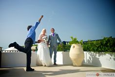 Greek welcome in Zia Kos after a stunning wedding in Kos town papa kosta throws the rice over the happy couple