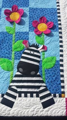 Here's a cute and easy baby quilt pattern- Zoe Zebra By Deb Grogan Featured in Q. - Here's a cute and easy baby quilt pattern- Zoe Zebra By Deb Grogan Featured in Quiltmaker March/A - Quilt Baby, Baby Girl Quilts, Girls Quilts, Rag Quilt, Crib Quilts, Children's Quilts, Block Quilt, Baby Applique, Applique Quilts