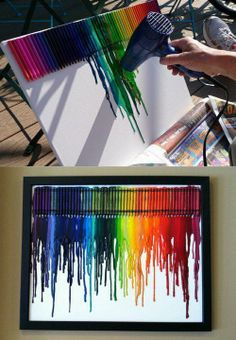 Hot glue crayons onto a plain canvas then get a blow dryer to melt them and make a cool wall decoration