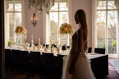 Beautiful table arrangement with bride overlooking, at the Cliff Townhouse Saint Stephen, Wedding Reception Venues, Table Arrangements, Bridesmaid Dresses, Wedding Dresses, Cliff, Townhouse, Weddings, Beautiful