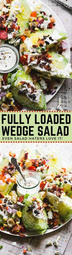 The Fully Loaded Wedge Salad is the Queen of salads ~ the salad even a salad hater can't resist, with hearts of iceberg lettuce piled high with goodies like bacon, eggs, croutons, black olives, creamy blue cheese dressing, and a few healthy veggies for good measure! #salad #heartsoflettuce #iceberglettuce #loadedsalad #partysalad #memorialday #4thofjuly #summersalad #bluecheesedressing #wedgesalad via @https://www.pinterest.com/slmoran21/