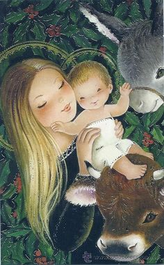 Christmas Scenes, Christmas Art, Christmas Manger, Christian Images, Mama Mary, Mary And Jesus, Madonna And Child, Christmas Illustration, Blessed Mother