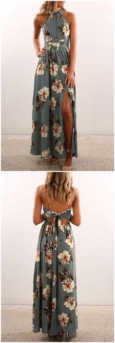 Grey Sexy Random Floral Print Splited Dress