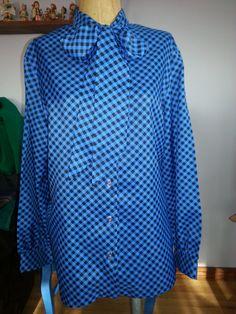 80s Vintage Black Plaid Tieneck Blouse Size M by Thriftiquities http://etsy.me/13QwdOH via @Etsy #Blue #Plaid #Gingham #Fashion #Style