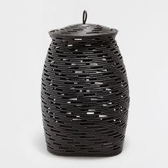 Zara Home Black Bamboo Laundry Basket