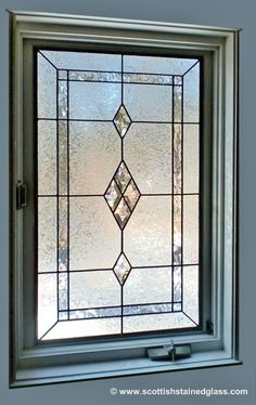 Leaded Glass Window. Good idea for bathroom; get the light without the peepers!