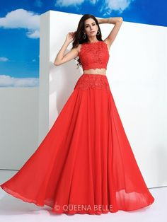 A-Line/Princess Scoop Sleeveless Floor-Length Lace Chiffon Dresses