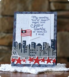 Taylored Expressions | stamps: Of Thee I Sing; dies: Downtown Border, Reach for the Stars, Little Bits - Flag; embossing folder: sheet music