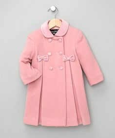 Take a look at this Pink Bow Wool-Blend Swing Coat - Infant by Nordic Country & Trilogi Coats on today! Little Girl Dresses, Girls Dresses, Pink Day, Modelos Plus Size, Baby Coat, Swing Coats, My Baby Girl, Kids Wear, Doll Clothes
