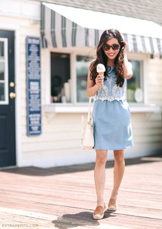 Chambray dress + slip-on shoes