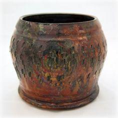 Textured Metallic Raku Flower Pot by Outlaw Pottery, via Flickr