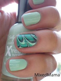 Mint / Water Marbled Nails- not a wardrobe...but great idea to add interest to nails inexpensively