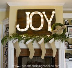 Lovely 'JOY' letters in light tutorial for a Christmas mantel | From Trish of Uncommon Designs