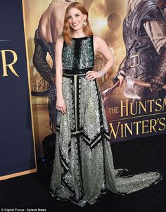 Fancy evening: Jessica Chastain stunned in an Altuzarra embellished black and green gown for the premiere of The Huntsman: Winter's War on Monday.  Beautiful!
