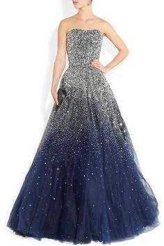 Marchesa Sequined Strapless Silk Tulle Gown in Blue | Lyst