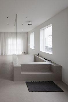 Contemporary bathroom design, minimalistic bathroom design, built-in bathtub, re… - Modern Contemporary Bathroom Designs, Bathroom Design Luxury, Modern Contemporary, Luxury Bathrooms, Modern Luxury, Contemporary Architecture, Concrete Bathtub, Sunken Bathtub, Stone Bathtub