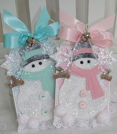 Large Pink and Aqua Glitter Snowman Christmas Gift by PaperBistro