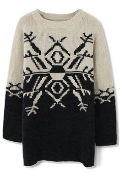 Color Block Snowflake Knit Sweater