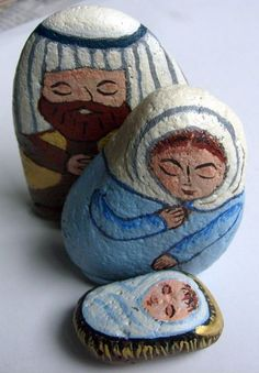 Small Light Blue Brown Painted Rock Nativity